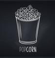 popcorn striped bowl icon for menu design vector image vector image