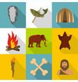 prehistoric icons set cartoon style vector image vector image