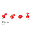 red push office pin set realistic vector image vector image