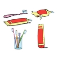 Retro set of dental hygiene toothpaste and vector image