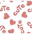 seamless pattern with kawai pink hearts vector image vector image