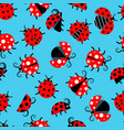 seamless pattern with ladybugs flat on background vector image vector image