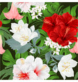 seamless texture bouquet with hibiscus jasmine vector image