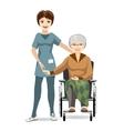 Senior Woman on Wheelchair and Nurse vector image vector image