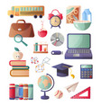 set of school supplies necessary for each student vector image