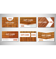 set of wooden gift cards vector image vector image