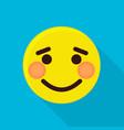 shy emoticon icon flat style vector image vector image