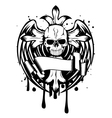skull with cross and wings vector image