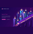 speed train electric subway isometric landing page vector image