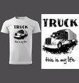 t-shirt print design with american truck vector image vector image