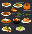 thai cuisine food fish vegetable meat dishes vector image vector image