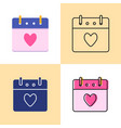 valentines day calendar icon set in flat and line vector image vector image