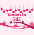 valentines day sale hanging hearts and gift boxes vector image