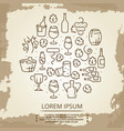 vintage poster with drinks - wine logo on vector image