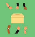 voting concept with votes box and hand work on it vector image