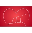 Stylized drawing of two lovers vector image