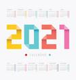 2021 calendar colorful design vector image