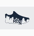 abstract poster - running sport shoe and the city vector image vector image