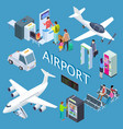 airoport isometric set with waiting area snack vector image vector image