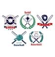 Baseball sporting heraldic emblems vector image vector image
