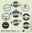 Billiards Champion Labels vector image vector image