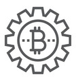 bitcoin gear line icon finance and money vector image
