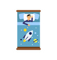 boy sleeping in his bed view from above cartoon vector image