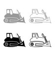 bulldozer icon outline set grey black color vector image