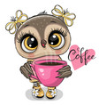cartoon owl with pink cup coffee vector image vector image