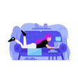 chatting girl with laptop lying on sofa vector image