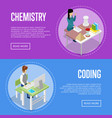 chemistry and informatics studying at school vector image