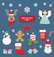 christmas decorative elements and stickers set vector image vector image