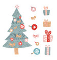 christmas greetings set with isolated decorative vector image vector image
