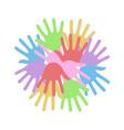 color hands symbol vector image vector image
