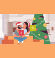 couple holding gift boxes merry christmas happy vector image vector image
