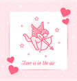 cupid valentine card text love line icon vector image vector image