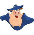 Cute Pig in Superhero Cartoon vector image vector image