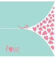 Cutting pink scissors and hearts Love card vector image vector image
