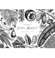 design with hand drawn exotic fruits and nuts vector image