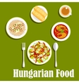 Dinner with dessert of hungarian cuisine vector image vector image