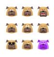 dog set emoji avatar sad and angry face guilty vector image vector image