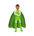 ecological superhero man in green costume standing vector image vector image