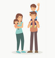 family with children playing outside for happy vector image