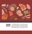 farm meat and sausages products poster for vector image vector image