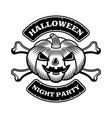 halloween emblem pumpkin and crossbones vector image