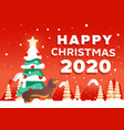 happy christmas 2020 background with vector image