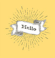 hello hello icon in vintage hand drawn ribbon vector image