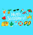 hello summer lettering beach banner with summer vector image vector image