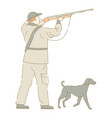 hunter with dog aiming gun shooting birds hunting vector image