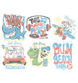 kids t-shirt designs set cartoon vector image vector image